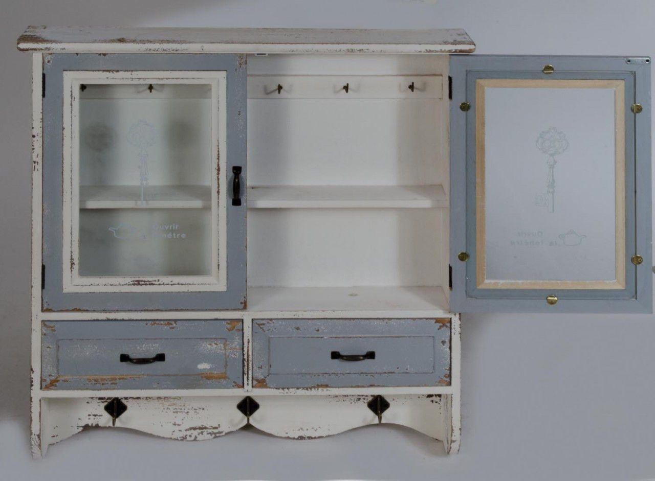 Wooden Cabinet Vintage French Glass Wall Storage Unit